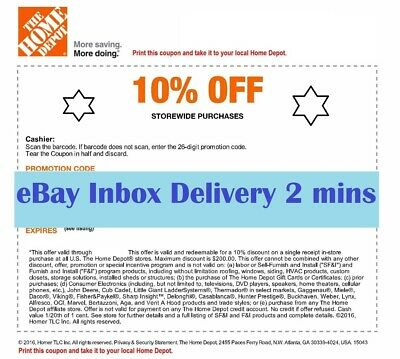 ONE~1X Home Depot 10% OFF Coupon - Instore ONLY Save up to $200-Fast-SENT_2mins-