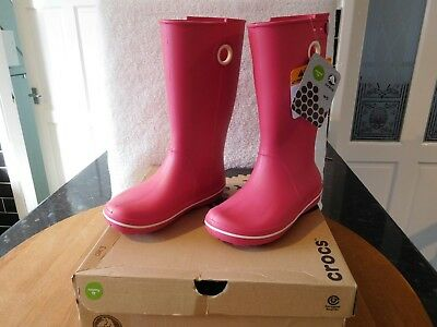 c1b23933b NEW CROCS CROCBAND Jaunt Girls Rain Boots Fuschia Kids Us J 3  34.99 ...
