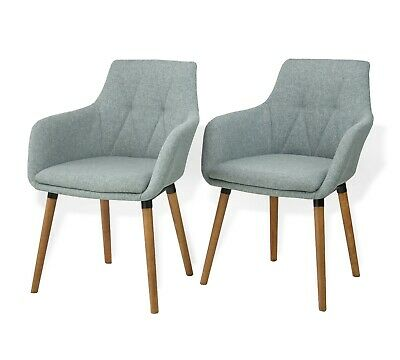 Modern Set of 2 Dining Alba Armchairs Wooden Legs Gray Color