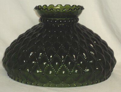 "NOS Solid Green Diamond Quilted Lamp Shade Aladdin,Rayo,Coleman 10"" Fitter"