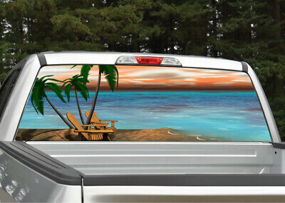 Truck Back Window Decals >> Beach Scene 5 Palm Trees Rear Window Decal Graphic For