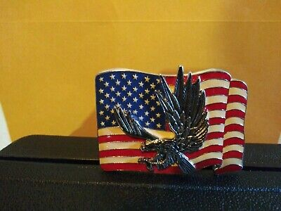 God Bless America Very Vintage Belt Buckle With Eagle On It/ Nip
