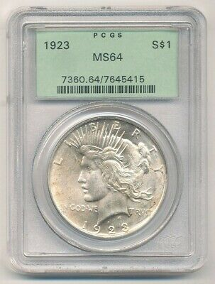 1923 Peace Silver Dollar Old Green Holder PCGS MS 64