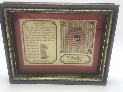 Antique 1890-1920 Underwear Button Bone Two Holes Betty Boop Painted Face Framed
