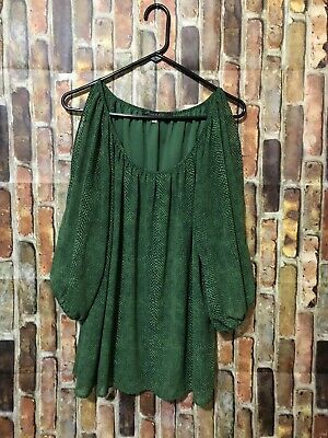 753c51414ca9a Rose   Olive XL Women s Plus Size Green Dot Cold Shoulder Blouse Top Sheer