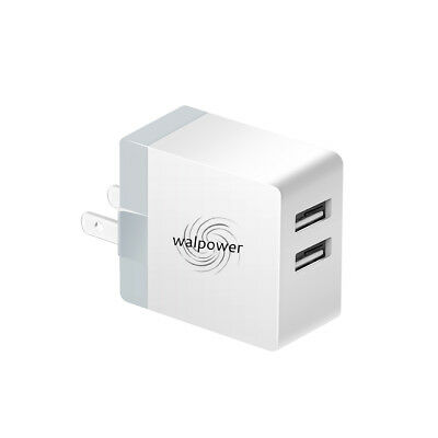 Dual USB Wall Charger Foldable Plug, Fast Quick Charge 2 Ports, 24W 4.8A