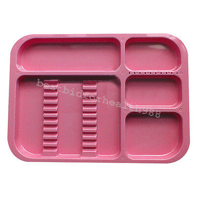Sterilized Autoclavable 135° Dental Divided Tray plastic instrument red case
