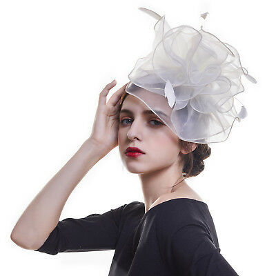 Women Mesh Feather Fascinators Top Hat Headpiece Headband Hairband Wedding Party
