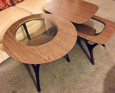 Cool Pair Mid Century Modern Glass Insert End Tables Round And Rectangular Nj Pickup Download Free Architecture Designs Grimeyleaguecom