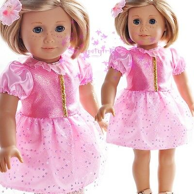 """ON Sale New Handmade Cute  Pink  Dress fits 18"""" American Girl Doll Skirt Clothes"""