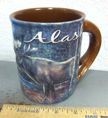 Alaska Ceramic Coffee Mug, Beautiful Bull Moose, Antler style handle, colorful