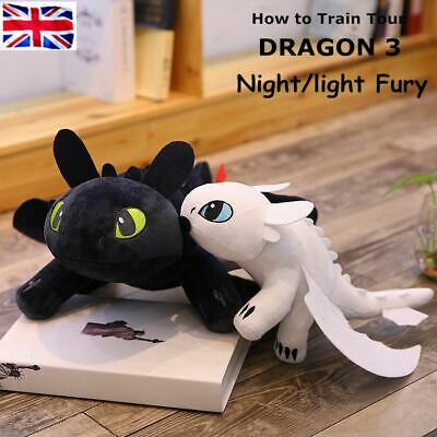 """How to Train Your Dragon 3 Toothless Night Fury Light Fury Plush Doll 10""""/14"""" UK"""