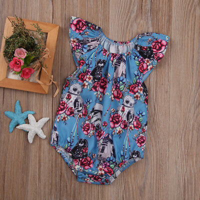 Cute Newborn Infant Baby Girls Star Wars Floral Rompers Jumpsuit Playsuit Outfit