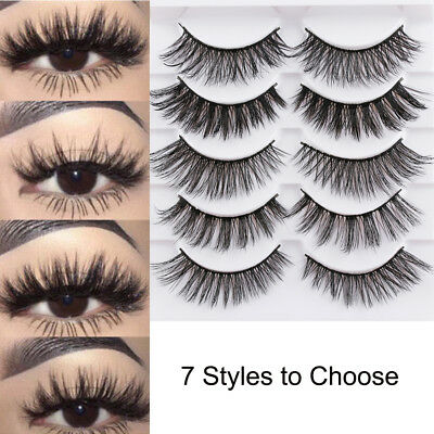 5Pairs 3D Faux Mink Hair False Eyelashes Extension Wispy Fluffy Think Lashes us