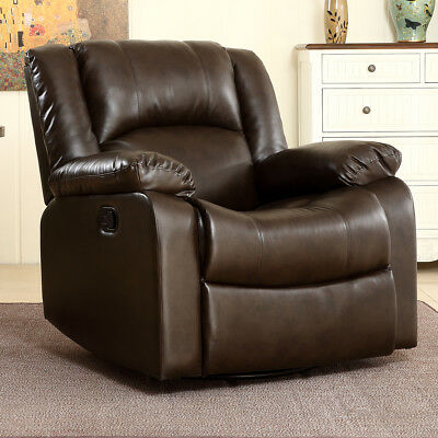 Rocker Swivel Recliner Chair Glider Bonded Faux Leather Living Room Brown New