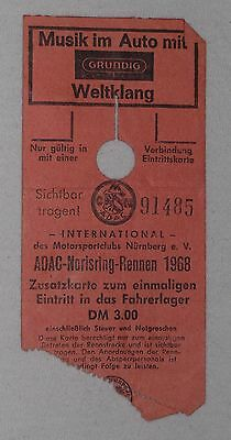 1968 Ticket 200 Meilen von Nürnberg Interserie CanAm Ferrari 412 Piper Siffert