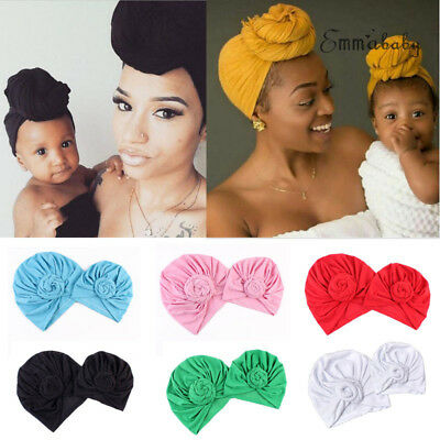 Women Mom Baby Boy Girls Winter Warm  Bandana Turban  Beanie Hat Cap Headwear