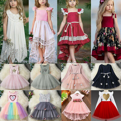 Flower Girls Dresses Princess Kid Pageant Party Wedding Lace Tulle Dress Gown