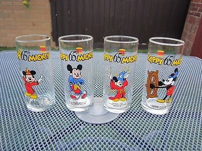 Hungry Jacks Disney Mickey Mouse 65th Anniversary Promotional Glasses