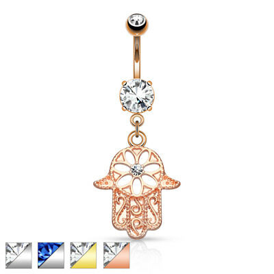 Surgical Steel Belly Button Piercing Pendant Contour Hamsa Hand