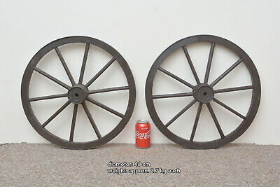 2x vintage old wooden cart wagon wheels wheel - 48 cm - FREE DELIVERY