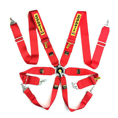 Sabelt Harness 6 points Belts Rally Racing Red Standard FIA Approved Seatbelt