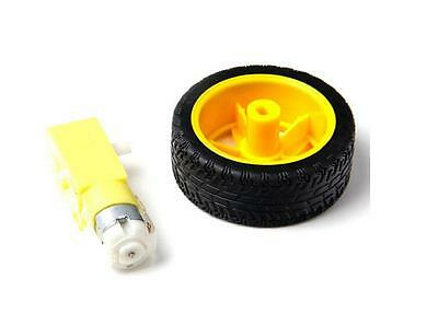 Arduino smart Car Robot Plastic Tire Wheel with DC 3-6v Gear Motor Hot And  FEH