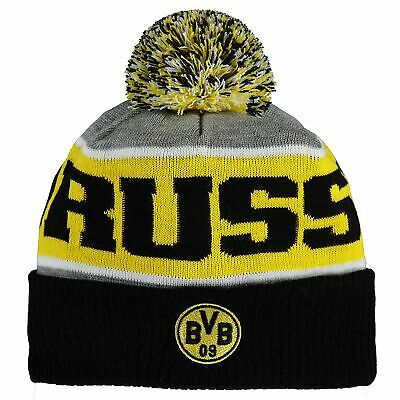 BVB Borussia Dortmund Knitted Beanie Hat Grey/Black Adult Football