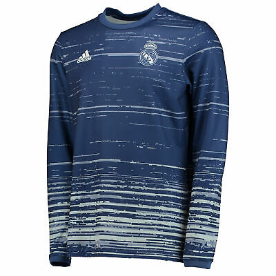 the best attitude 16f5f f9a85 Real Madrid Home Pre Match Shirt Top Football Navy Long Sleeve Mens adidas