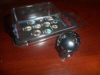 NEW Q-Parts Dome Knob KBD-0124DB SKULL /'N BONES ON DARK BLACK