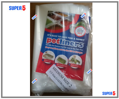 EASY BAGS POT LINERS -Bain Marie Pots - SIZE 2 (1/3 Gastronorm) - 100 BAGS PACK