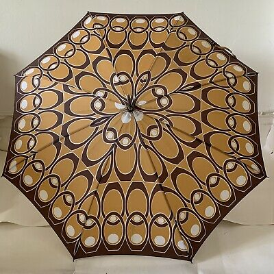 Unbranded 1960s Vintage Umbrella Milk Coffee Tan With Brown Leather Hook Handle