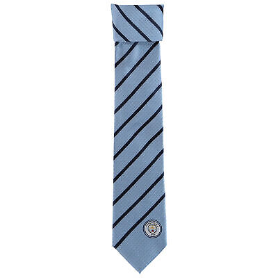 Manchester City Polyester Stripe Tie Sky/Navy Football Mens
