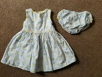 Gorgeous yellow blue floral dress with knickers from Sainsburys TU: 3-6 months
