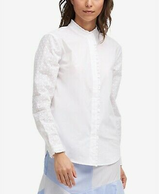 0cead7c6 $191 Dkny Womens White Ruffled Eyelet-Sleeve Blouse Button-Up Shirt Top  Size M