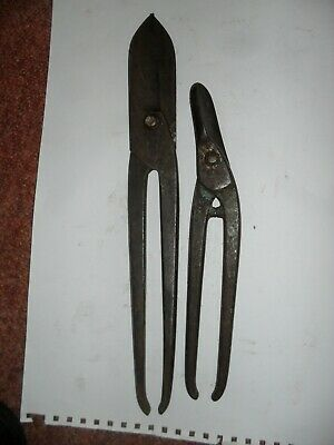"""Nice old pair of 14 """" tin snips plus another at 11 """""""
