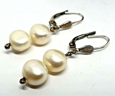 107071204 Dower & Hall Sterling Silver Double REAL Pearl Drop Earrings Boxed Wedding  Bride