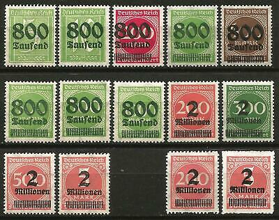 Germany (Weimar Republic) MNH 1923 Set High Inflation O/P New Values Mi-301-312