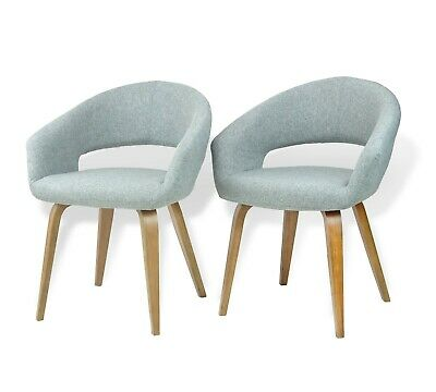 Modern Set of 2 Dining Lagos Armchairs Wooden Legs Gray Color