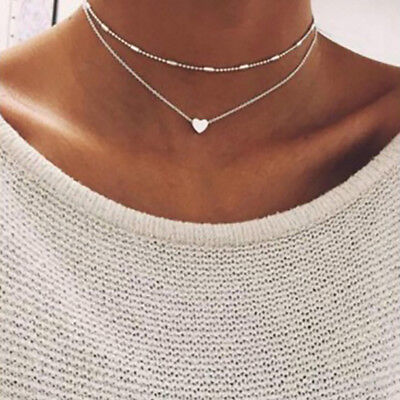 Fashion Women Multilayer Heart Necklace Clavicle Chain Jewelry Simple Gift OW
