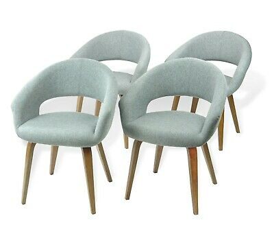 Modern  Set of 4 Dining Lagos Armchairs Wooden Legs Grey Color
