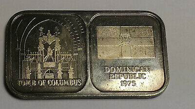 1975 Rosario Dominican Republic Tomb of Columbus .999 Silver 1 Troy oz Serial #