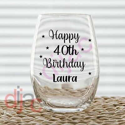 HAPPY BIRTHDAY PERSONALISED VINYL DECALS STICKERS for WINE GLASS