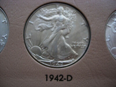 1942-D Choice Bu Uncirculated Walking Liberty Silver Half Dollar - L13