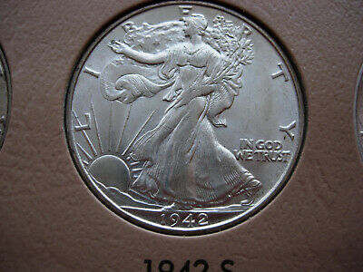 1942-S Choice/gem Bu Uncirculated Walking Liberty Silver Half Dollar - L13