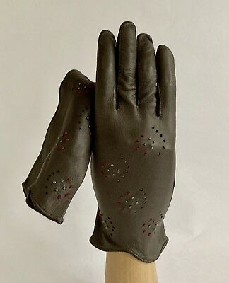 Vintage 1950s Grey Soft Kid Leather Embroidered Unlined Ladies Gloves Size 6.5