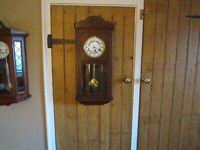Antique Medium Oak  Westminster Chiming  Wall Clock In V.g.w.o.