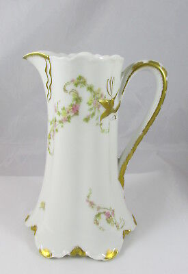 "Antique Limoges Haviland The Norma Flowers & Gold Porcelain Tall 6 5/8"" Pitcher"