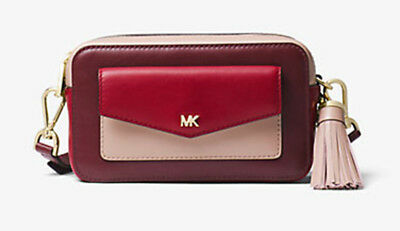 03a7cd1c9344 MICHAEL KORS SMALL Quilted Tri-Color Leather Camera Bag- Racing ...