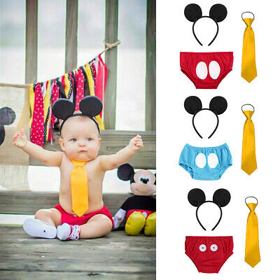Baby Boy 1st Birthday Cake Smash Mickey Mouse Costume Party Photo Shoot Outfits